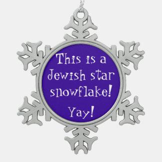 Jewish Star Snowflake Snowflake Pewter Christmas Ornament