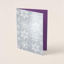 Jewish Star Snowflakes for Hanukkah Foil Card