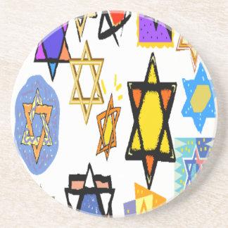 Jewish Stars Beverage Coasters - Sandstone - Cork