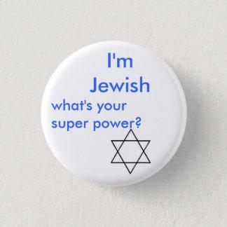 Jewish super power pinback button