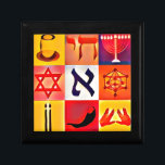 "Jewish Symbols Jewelry Box<br><div class=""desc"">Small Tile Gift Box</div>"