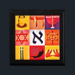 """Jewish Symbols Jewelry Box<br><div class=""""desc"""">Small Tile Gift Box</div>"""
