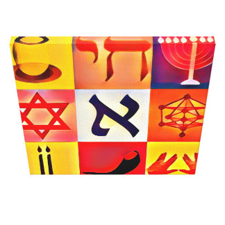 Jewish Symbols Pop Art Canvas Print