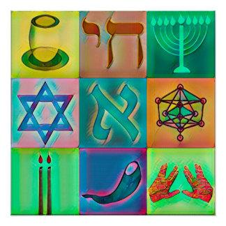 Jewish Symbols Pop Art Poster