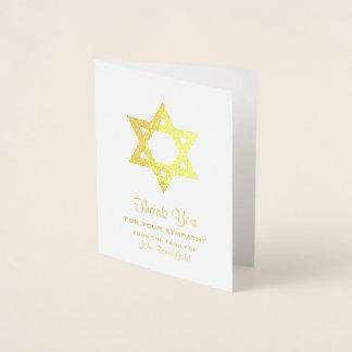Jewish Sympathy Thank You Gold Foil Star of David Foil Card