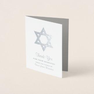 Jewish Sympathy Thank You Silver Foil Star David Foil Card