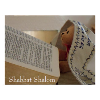Jewish Teddy Bear wearing tallit Shabbat Shalom Poster