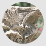 Jewish Temple Ruin With Manorah Detail flower Classic Round Sticker