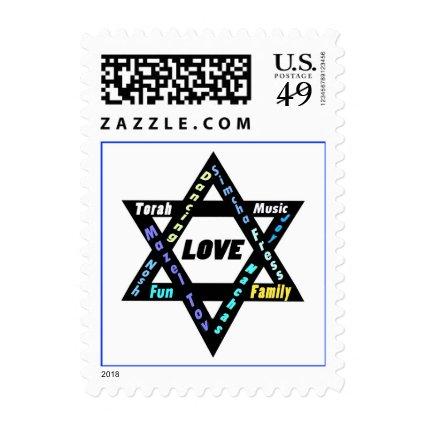 Jewish Values Black Star Bar/Bat Mitzvah Postage