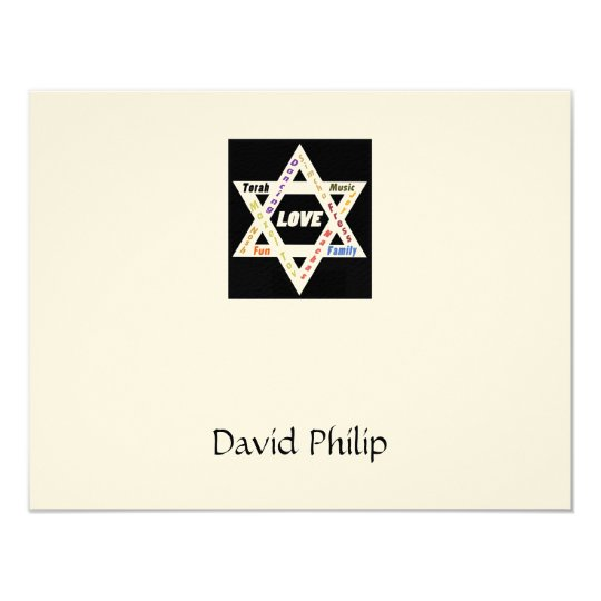 Jewish Values Star Bar Mitzvah Thank You Card