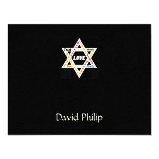 Jewish Values Star Black Bar Mitzvah ThankYou Card