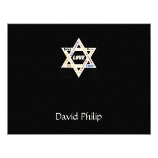 Jewish Values Star Black Bar Mitzvah ThankYou Card Custom Invites