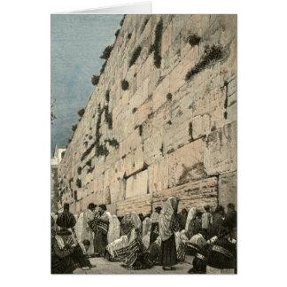 Jewish Wailing Wall Kotel Buraq Jerusalem Vintage Greeting Card