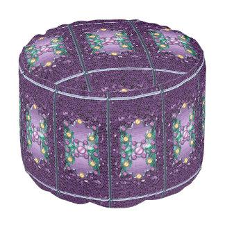 Jewlry rosado púrpura de las gemas femeninas puf redondo