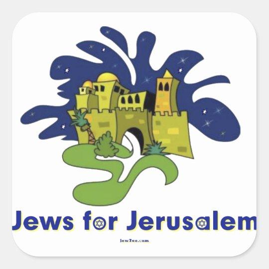 JEWS FOR JERUSALEM HANUKKAH GIFTS SQUARE STICKER