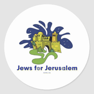 JEWS FOR JERUSALEM HANUKKAH GIFTS ROUND STICKERS