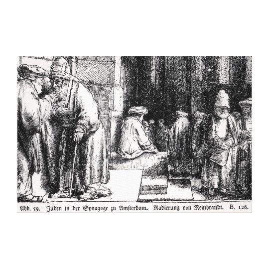 Jews in the Synagogue in Amsterdam Canvas Print