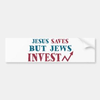 Jews Invest - Jewish finance humor Car Bumper Sticker