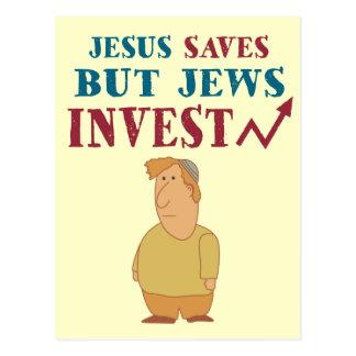 Jews Invest - Jewish finance humor Post Card