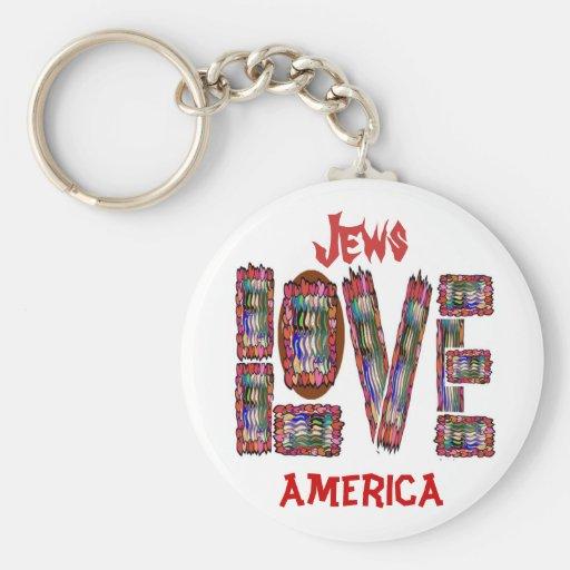 Jews LOVE America Basic Round Button Keychain