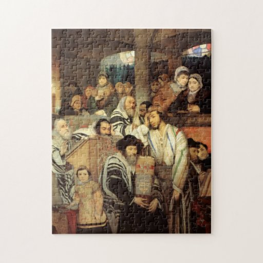 Jews Praying by Maurycy Goettlieb - Circa 1878 Jigsaw Puzzle