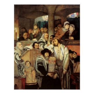 Jews Praying by Maurycy Gottlieb - Circa 1878 Poster