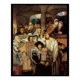 Jews Praying by Maurycy Gottlieb - Circa 1878 Poster