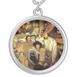Jews Praying in the Synagogue on Yom Kippur Personalized Necklace
