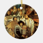 Jews Praying in the Synagogue on Yom Kippur Christmas Tree Ornament