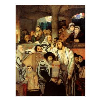 Jews Praying in the Synagogue on Yom Kippur Postcard
