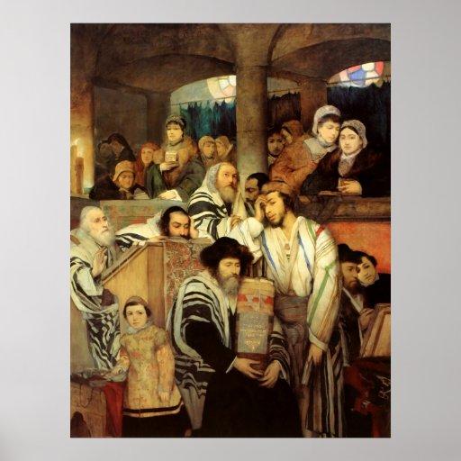 Jews Praying in the Synagogue on Yom Kippur Print