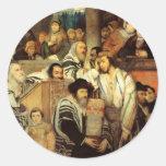 Jews Praying in the Synagogue on Yom Kippur Stickers