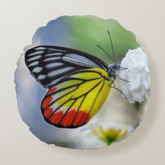 Jezabel pintado mariposa amarilla roja cojín redondo