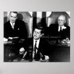 JFK Announces Moon Landing Mission -- Border Poster