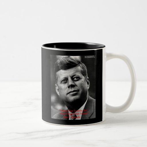 """JFK """"Forgive Not Forget"""" Wisdom Quote Gifts & Card Two-Tone Coffee Mug"""