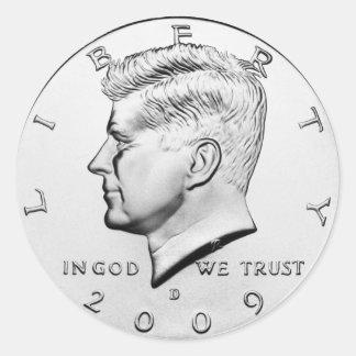 JFK Half Dollar (pack of 6/20) Classic Round Sticker