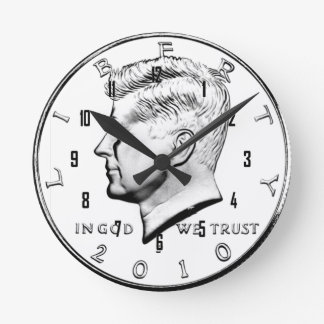 JFK HALF DOLLAR ROUND CLOCK