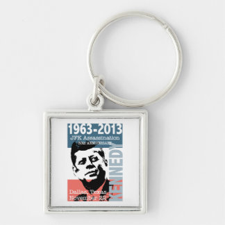 JFK Kennedy Assassination Anniversary 1963 - 2013 Silver-Colored Square Keychain