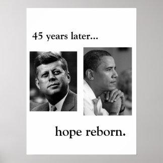 JFK / OBAMA POSTER - HOPE REBORN