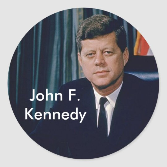 JFK official portrait from public domain Classic Round Sticker