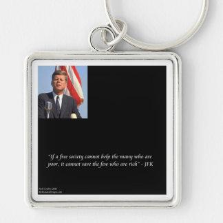 JFK que ahorra la cita rica y de los pobres Llavero Cuadrado Plateado