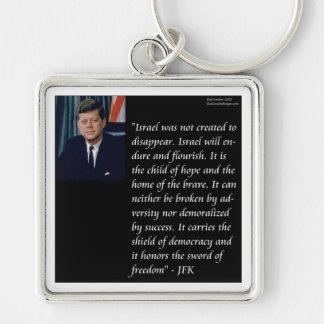 JFK y cita famosa con referencia a Israel Llavero Cuadrado Plateado