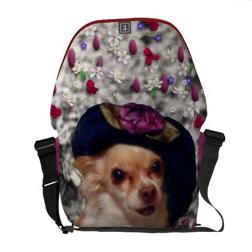 Ji en flores - perrito de la ji de la chihuahua en bolsa messenger