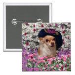 Ji en flores - perrito de la ji de la chihuahua en pin