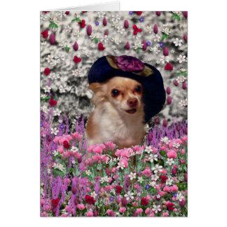 Ji en flores - perrito de la ji de la chihuahua en tarjeta pequeña