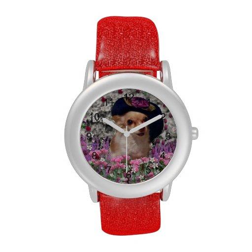 Ji en flores, perro de perrito de la chihuahua, go relojes de mano
