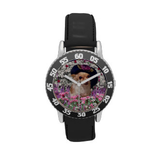 Ji en flores perro de perrito de la chihuahua go reloj