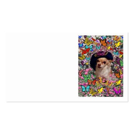 Ji en mariposas - perrito de la ji de la chihuahua tarjetas de visita