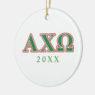 Ji letras verdes y rojas de Omega de Alphi Ornamentos De Navidad