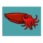 Jibias rojas de la natación tarjetas postales